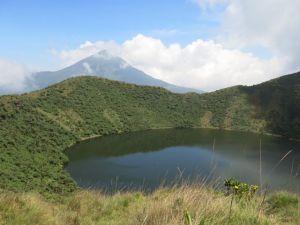Bisoke lake with Karisimbi in the background