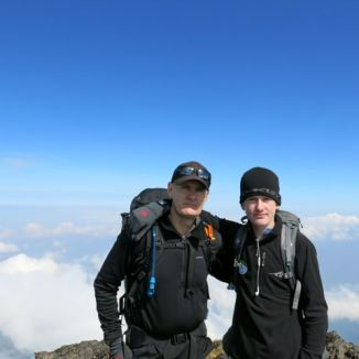 Tony and Josh on summit of Karisimbi