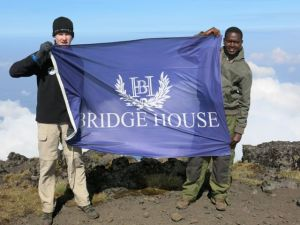 Josh and Bosco flying the Bridgehouse flag